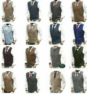Mens Waistcoat Waistcoats - Wool Blend Tweed  Vest Jacket Gilet Formal Casual