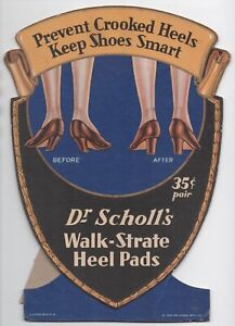 1929 Cardboard Counter Stand Up Advertising Sign for Dr Scholl's Walk Heel Pads
