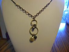 """Lia Sophia """"Spinoff"""" Necklace 35-38 inches Gold, Brown & Black NWT"""
