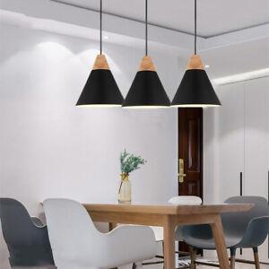 3X Black Lights Wood Ceiling Lamp Modern Pendant Light Home Chandelier Lighting