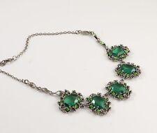 VERDE Smeraldo Cristallo Sfaccettato Diamante Collana Vintage Barocco Look