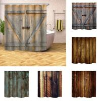 Shower Curtain Rustic Wood Barn Door Pattern Bath Curtain Waterproof With Hooks
