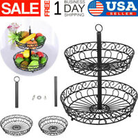 2-Tier Countertop Fruit Basket Stand Metal Wire Organizer Vegetable Caddy