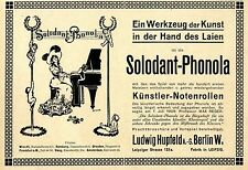 Ludwig Hupfeld Berlin W./ Leipzig Solodant- Phonola Historische Annonce 1908