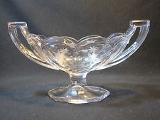 Small Glass Compote Jelly Dish Chippendale Style Handles Floral Cutting