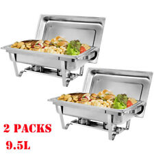 2 Packs Chafing Dish Sets Buffet Catering Rectangular Folding Chafer Food Warmer