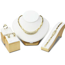 Lady African 18K Gold Plated Earrings Ring Bracelet Necklace Set Jewelry Gift