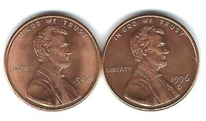 1996 P & D Uncirculated Two Lincoln cent coins!
