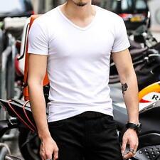 New Men Casual Short Sleeve T-Shirts V-Neck Base Shirts Tee Tops Undershirt VEST