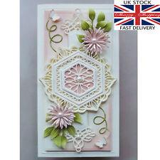 6 piece lace hexagon die set pretty metal cutting die cutter UK seller fast post