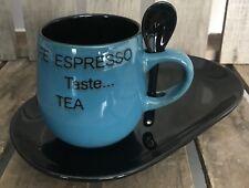 4 Mug/Cup Plate & Spoon Set Blue/Black Coffee Cappuccino Expresso Tea Kitchen