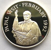 Gambia 1992 Papal Visit 10 Dalasi Silver Coin,Proof,With Box COA