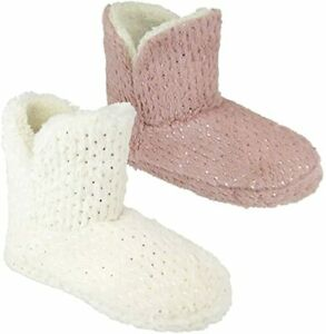 Amazing Health Warm Ankle Boot Slippers for Women and Girls (Pink Glitter - L)