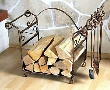étagère en bois de cheminée avec tisonnier art.183 Support 77 cm Panier Set pour