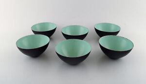 Set of six Krenit bowls by Herbert Krenchel. Black metal and mint green enamel.