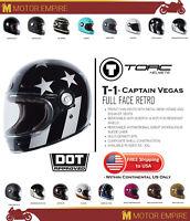 TORC T1 Retro Full Face Fiberglass Motorcycle Helmet Black Captain Vegas DOT