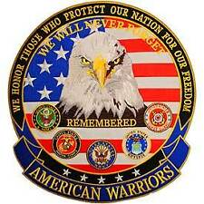 "We Will Never Forget American Warriors Embroidered 12"" Military Jacket Patch"