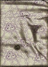 Pretty Scroll Floral & Micro Dot Print dusty mauve on cream Fabric by Springs