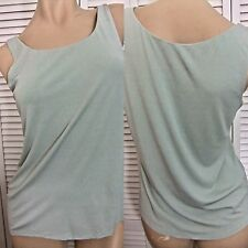 NWT EILEEN FISHER BLOUSE / TANK TOP SMALL AQUA WASHABLE STRETCH CREPE 100% SILK