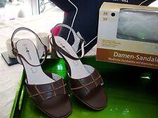bluEmotion Schuhe Sandalen Gr. 38 braun Leder mit Karton