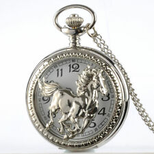 Silver Horse Animal Design Vintage Pocket Watch Quartz Antique Necklace Chain