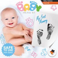 Handprint Footprint Paw Print Kit with Inkless Wipe Black Mess Free