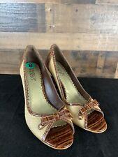 Franco Sarto Bow Peep Toe Textile Leather High Heels Pump 8M