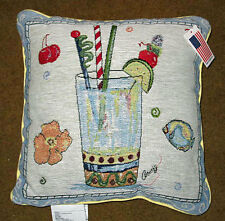 Happy Hour Blue Lightning Tapestry Square Pillow ~ Artist, Anne Ormsby