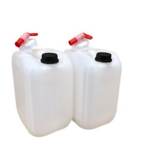 2 x 10 litre water container food grade stacking compact strong bpa free + 2 tap