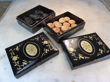 Pair antique black wooden lacquered boxes with set of draughts chequers counters