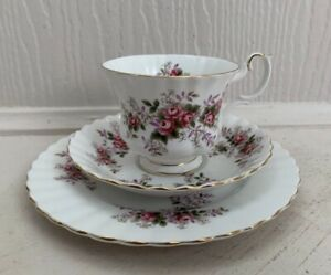 Vintage Royal Albert Lavender Rose Trio Cup  Saucer Plate Porcelain TrioTea Cup