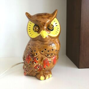 Vintage Ceramic Light Up Owl Lamp Nightlight Mid Century Modern Brown & Orange