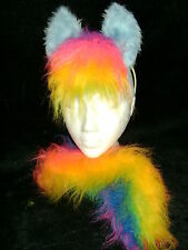 Rainbow Horse / Pony Ears And Tail Set Fancy Dress Costume Dress Up One Size New