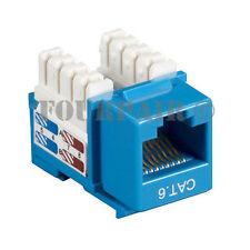 CAT6 LAN Network RJ45 110 Punch Down 8P8C Keystone Modular Snap-In Jack - Blue