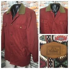 Vintage Woolrich Barn Chore Jacket Large Mens Red Aztec Lined Coat