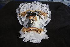 Wedding Cake Topper Cowboy Western Bridge Rope Horseshoe Kissing White/Black