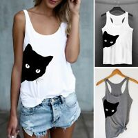 Women Cat Print Casual Tank Top Summer Blouse Sleeveless O Neck T-Shirt S-2XL
