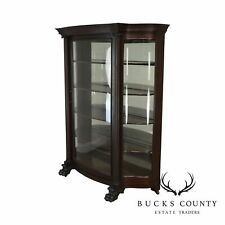 Superieur Victorian Mahogany Antique Claw Foot Bow Glass China Display Cabinet