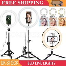 "10"" LED Ring Light Dimmable Lighting Kit Phone Selfie Tripod Stand Lamp Live UK"