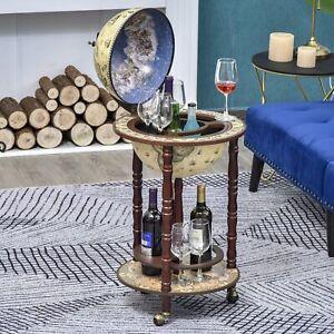 Vintage Wine Cabinet Cart Retro Globe Bar Bottle Storage Rack Drinks Trolley