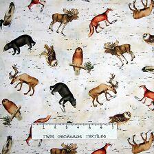 Animal Fabric - Lodge Bear Duck Fox Owl Toss Beige - Windham YARD
