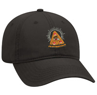 Black Dad cap Customized with embroidery of a pizza slice with all seeing eye.