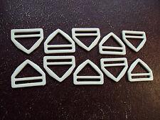 10 Pcs Blanc-TRIANGLES-Plastique, Boucle Pour Sangle 40 mm x 30 mm x 30 mm