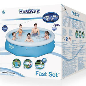 Bestway 10ft Fast Set Family Swimming Pool Outdoor Garden Pool 10ft x 30inch