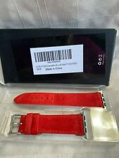 Red Suede Leather Apple Watch Band 38mm to 40mm New Open Box