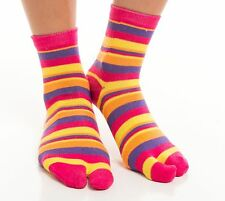 1 Pair - Casual Multi-Color Striped V-Toe Flip Flop Socks Japanese Asian Style