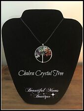 Chakra family tree Crystal Necklace Jewellery Silver Black Rope Gemstone Yoga