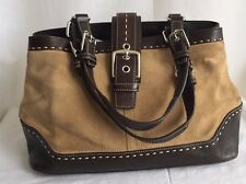 "COACH F12619 Tan Suede Brown Leather Trim Tote Handbag Purse Pop Stitch 13""x9"""