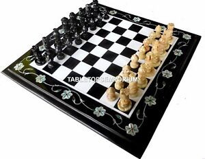 """12"""" Inlaid Marble Chess Playing Table Fine Stone Living Halloween Decor H4465"""