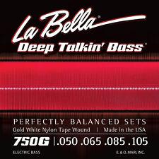 LA BELLA 750G GOLD WHITE NYLON TAPE WOUND BASS STRINGS, LITE GAUGE 4's - 50-105